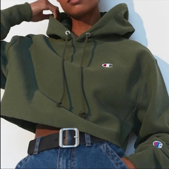 Champion Army Green Cropped Hoodie